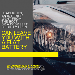 The lights in your car will drain the battery if left on while your vehicle is off.