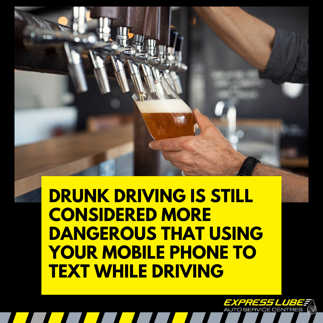 Drunk driving is still considered more dangerous than using your mobile phone to text while driving.