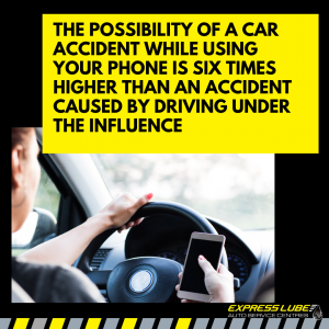 Yet the possibility of a car accident while using your phone is six times higher than an accident caused by driving under the influence.