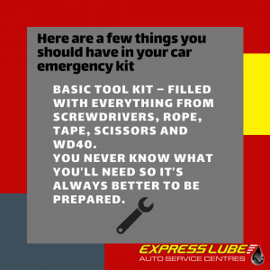 Basic Tool kit – filled with everything from screwdrivers, rope, tape, scissors and WD40.