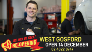 In the main image, a mechanic smiles at camera. Below, an overlay says 'West Gosfrod Open 14 December'.